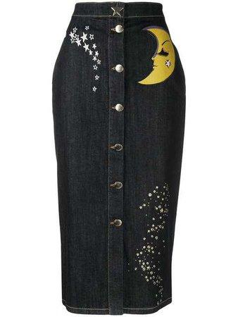 Moschino Denim Button Skirt - Farfetch