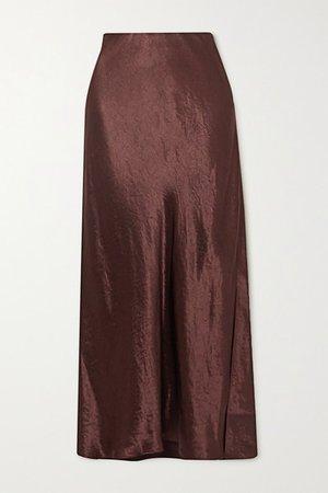 Hammered-satin Midi Skirt - Chocolate