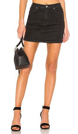 Free People Teagan Denim Skirt in Black | REVOLVE