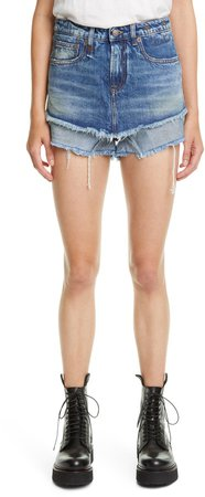 Double Layer Cutoff Denim Shorts
