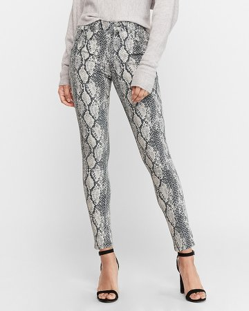 High Waisted Snakeskin Print Ankle Skinny Jeans
