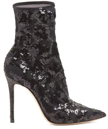 Sequin Embellished 105 Ankle Boots - Womens - Black