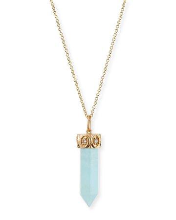 Sydney Evan Long Aquamarine Crystal Pendant Necklace