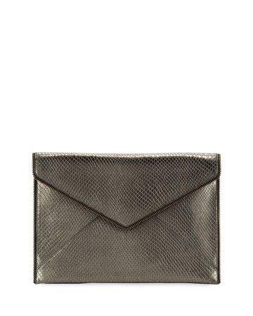 Rebecca Minkoff Leo Snake-Print Leather Clutch Bag | Neiman Marcus