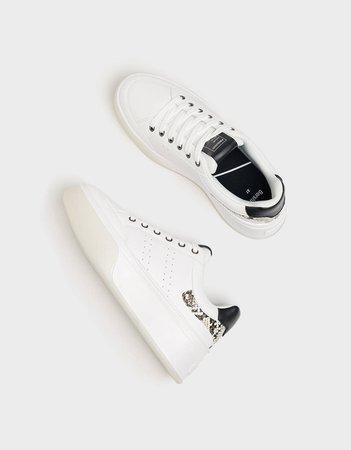 Platform sneakers with embossed animal print detail - New - Bershka United States