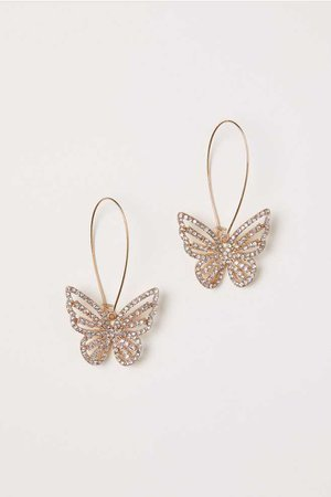 Rhinestone Butterfly Earrings - Gold-colored/butterfly - Ladies | H&M US