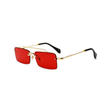 Peekaboo retro rectangle sunglasses men metal frame gold brown red semi rimless square sun glasses for women 2018 summer Lenses Color clear red Frame Color as show in photo