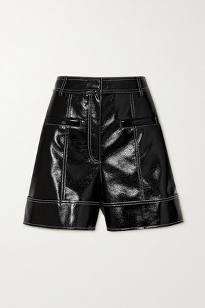 Topstitched Faux Patent-leather Shorts - Black