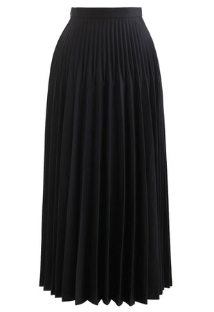 High-Waisted Full Pleated Maxi Skirt in Black - Retro, Indie and Unique Fashion