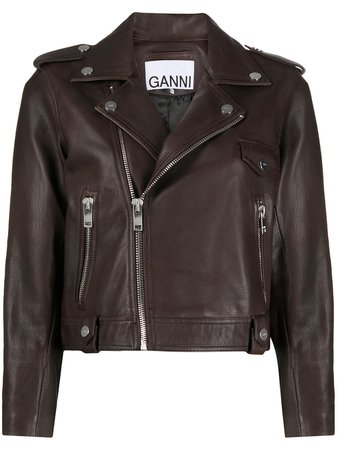 GANNI Leather Biker Jacket - Farfetch