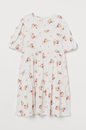 Puff-sleeved Jersey Dress - White