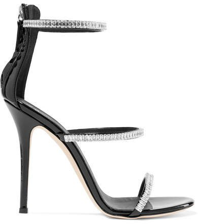 Harmony Crystal-embellished Patent-leather Sandals - Black