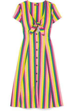 STAUD | Alice tie-front striped stretch-cotton poplin dress | NET-A-PORTER.COM