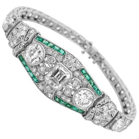 Diamond and Emerald Bracelet For Sale at 1stDibs