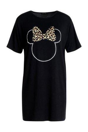 Disney Minnie Leopard Bow Tshirt Dress | Boohoo