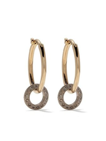 Hum 18kt Yellow Gold Diamond Disc Hoops - Farfetch