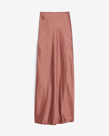 High Waisted Satin Maxi Slip Skirt   Express