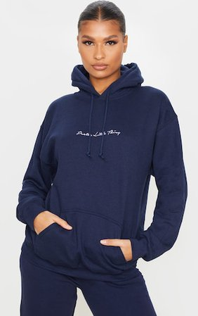 PLT Navy Embroidered Oversized Hoodie | PrettyLittleThing USA