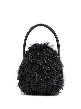 Simone Rocha furry tote bag black BAG900028TINSELFUR - Farfetch