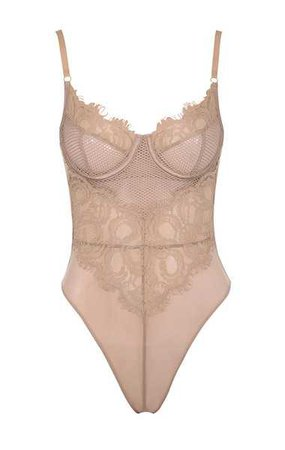 Intimates : 'Nadia' Nude Lace Bodysuit