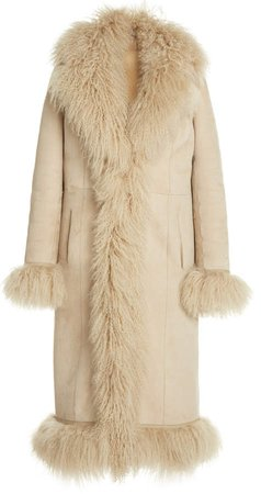 Saks Potts Bonnie Fringed Shearling Long Coat