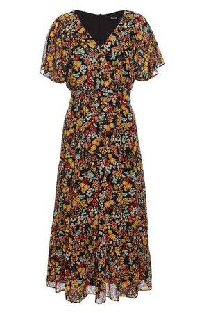 Madewell Flower Garden Dolman Sleeve Ruffle Hem Midi Dress | Nordstrom