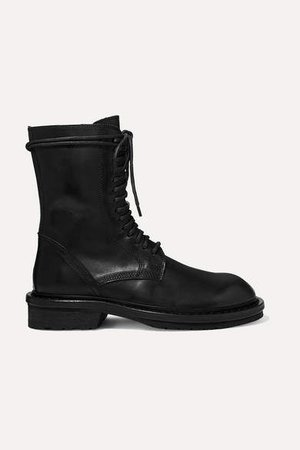 Lace-up Leather Ankle Boots - Black