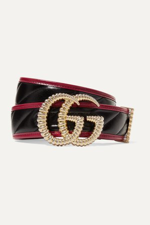 Black Two-tone quilted leather belt | Gucci | NET-A-PORTER