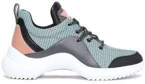 Paneled Printed Mesh And Rubber Sneakers