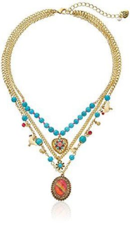 Betsey Johnson Turqs and Caicos Semiprecious Turquoise Bead Multi-Charm Necklace   eBay