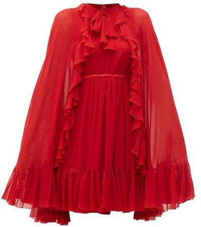 Ruffled Cape Silk Chiffon Mini Dress - Womens - Red