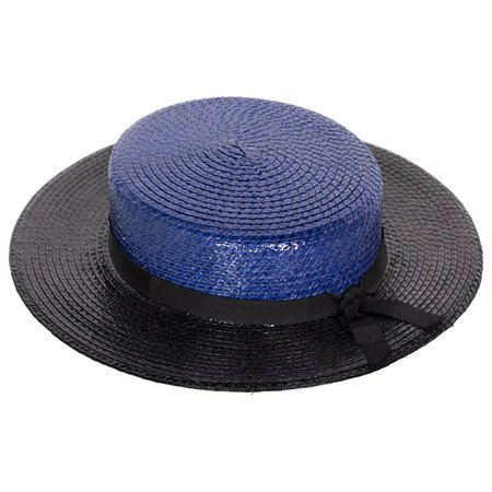 Yves Saint Laurent YSL Vintage Glossy Blue and Black Straw Hat, 1990s For Sale at 1stdibs