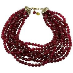 Chanel Vintage 1970s Multi-Strand Ruby Glass Necklace