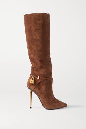 Tan Padlock embellished suede knee boots   TOM FORD   NET-A-PORTER