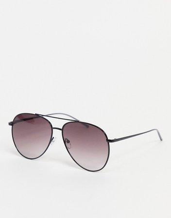 ASOS DESIGN metal aviator sunglasses in shiny black | ASOS