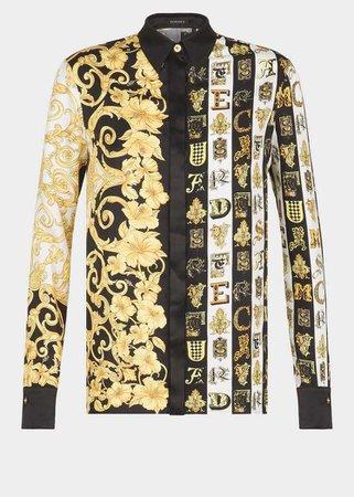 Versace - SS19   Mixed print silk twill shirt ($1,195)