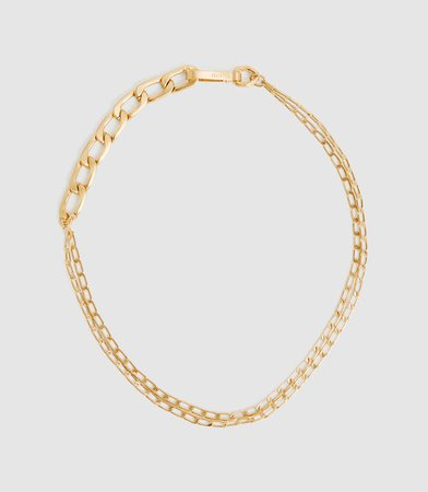 Ellena Gold Brushed Gold Plated Chain Necklace – REISS