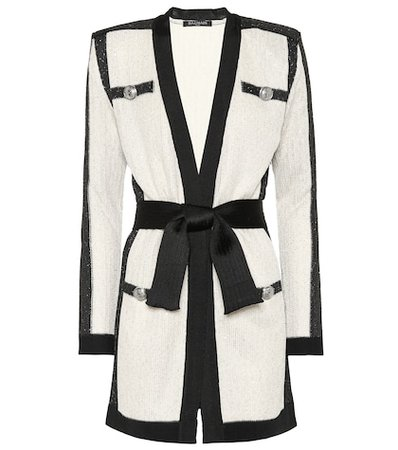 Sequined belted cardigan