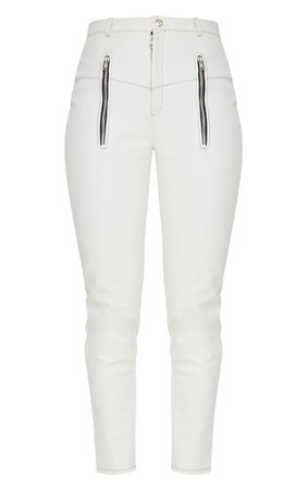 White Faux Leather Contrast Stitch Pants