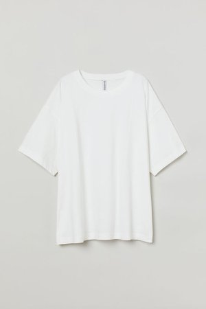 H&M+ Wide-cut Cotton T-shirt - White