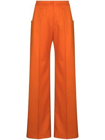 Orange Materiel high-waist wool flared trousers - Farfetch
