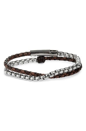 Jonas Studio Braided Leather & Chain Double Wrap Bracelet | Nordstrom