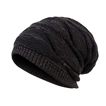 Mens Winter Plus Velvet Warm Knitting Hats Wool Baggy Slouchy Beanie Hat Skull Cap Ski Cap (Black) | WantItAll