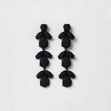 Black satin jewel drop clip on earrings - Earrings - Jewellery - women