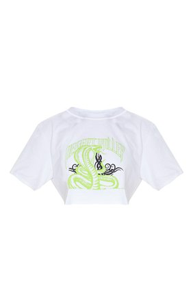 White Snake Cropped T Shirt   Tops   PrettyLittleThing