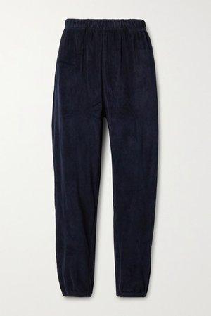 Cotton-blend Velour Track Pants - Midnight blue