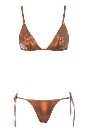 Clothing : Swimwear : 'Sunlight' Iridescent Amber Triangle Bikini