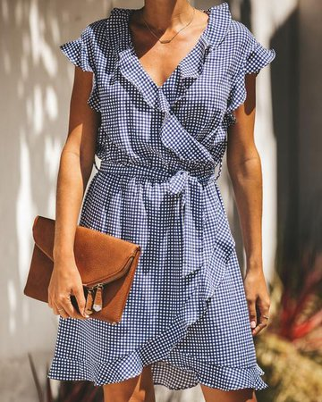 Tea For Two Gingham Ruffle Dress – VICI