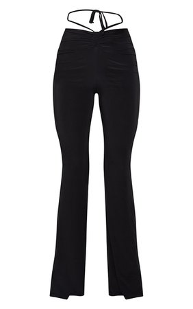 Black Slinky Ruched Waist Flared Trousers   PrettyLittleThing USA