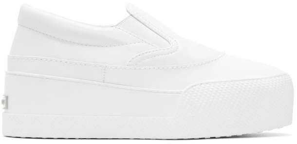 MIU MIU White Pointed Platform Slip-on Sneakers